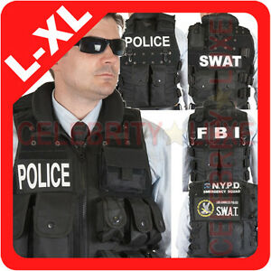 New-POLICE-SWAT-FBI-NYPD-Vest-Jacket-Military-Army-Tactical-Fancy-Dress-Costume