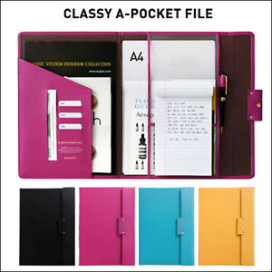 classy a pocket faux leather file folder organizer document note business card. Black Bedroom Furniture Sets. Home Design Ideas