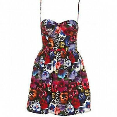 Topshop Floral Pansy Skull Day Of The Dead Vintage Corset Cup Prom Sun Dress 12