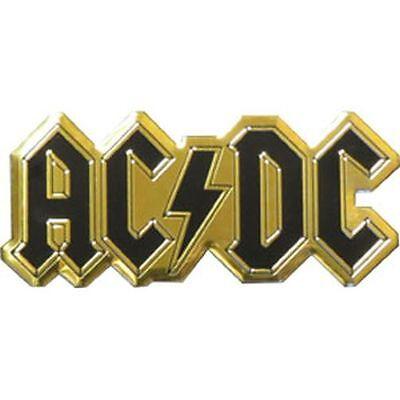 AC/DC LOGO - METAL STICKER 3.5 x 1.5 - BRAND NEW - CAR DECAL 7619