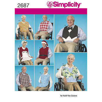 Simplicity 2687 Paper Sewing Pattern to make Adult Bibs for Wheelchair Warriors