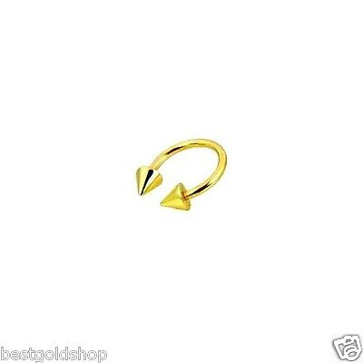 - Horseshoe Circular Barbell Eyebrow Ring with Cone 14K Yellow Gold 16G