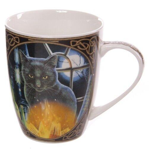 Fantasy Tasse Magische Katze mit Kerze Kaffebecher Zauberer Zauberei Hexe Becher