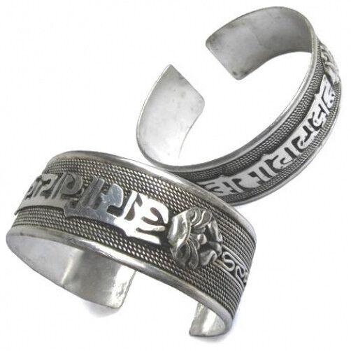 Huge Tibetan Bodhi Weaving Braided Carved OM Mani Pdame Hum Dorje Cuff Bracelet