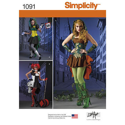 - SIMPLICITY COSPLAY Pattern HARLEY QUINN JOKER POISON IVY Costume Sz 6-14 14-22