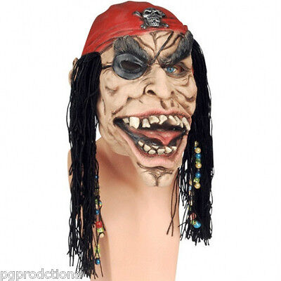 PIRATE MASK With BEADS Scary Rubber Latex Costume Red Cap Halloween Hair Wig - Scary Halloween Magic Tricks