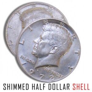 1 SHIM SHELL COIN US HALF DOLLAR Heads Kennedy Trick Hollow Money .25 Magician