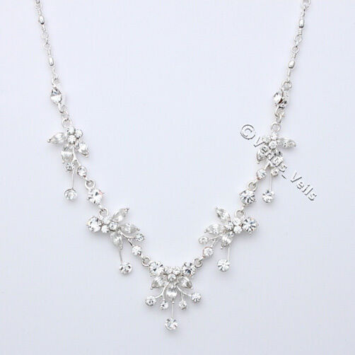 Bridal Wedding Flower Crystal Necklace Earrings Set