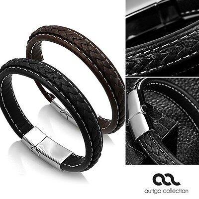Edles Leder-Armband für Herren, breit mit Rindsleder und geflochtener