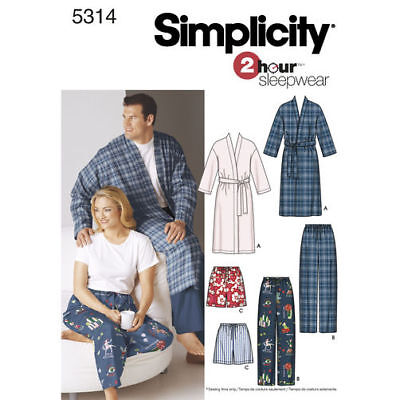 """Simplicity 5314 Sewing Pattern 2 Hr Robe Men Misses Pajama XL-XXXL Chest to 62"""""""