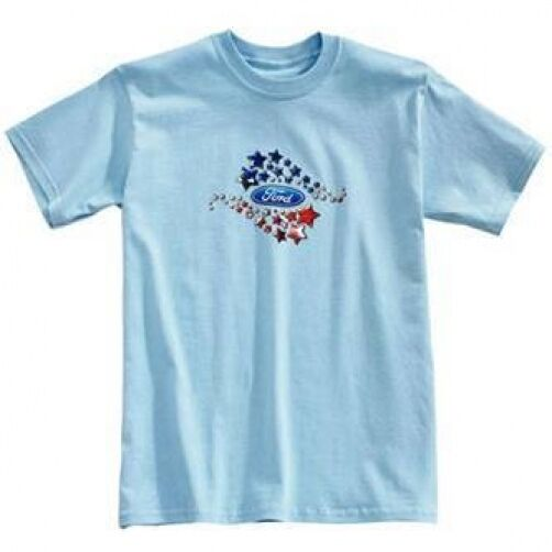 FORD MOTOR COMPANY RED WHITE & BLUE PATRIOTIC JUNIOR OR GIRL'S T SHIRT BLUE STAR