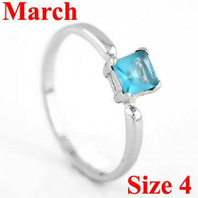 STERLING SILVER MARCH BIRTHSTONE CZ CHILD RING SZ 4
