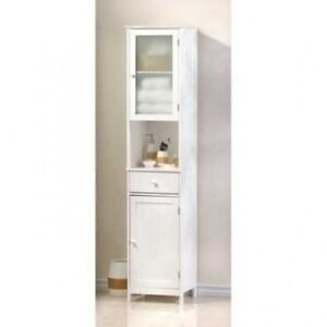 White Storage Cabinet Perfect For Narrow Bathrooms Hallways Kitchen