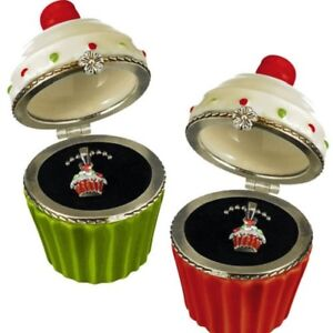Cupcake Pendant Childrens Holiday Jewelry-Red