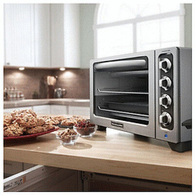 "KitchenAid STEEL 12"" Convection Countertop Toaster Oven MODEL KC0222CS Refurb"