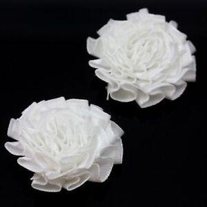 2 WHITE SATIN FLOWER EMBELLISHMENTS DRESSMAKING ACCESSORIES CRAFT - HE582
