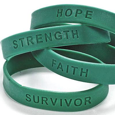 24 Teal Green Ovarian Cervical Cancer Awareness Bracelets