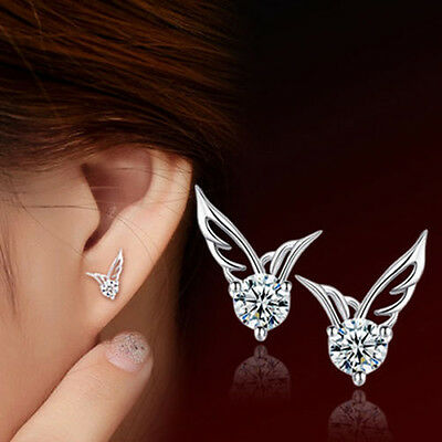 Fashion Women 925 Sterling Silver Jewelry Angel Wings Crystal Ear Stud Earrings