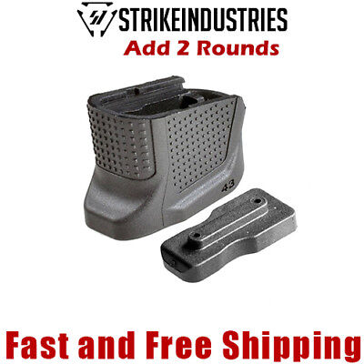 Strike Industries Enhanced Magazine Extension Base Plate Add +2 Rd for Glock 43