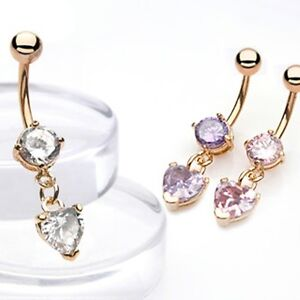 Gold-Plated-Prong-Set-CZ-Belly-Bar-Navel-Ring-With-Dangle-CZ-Heart