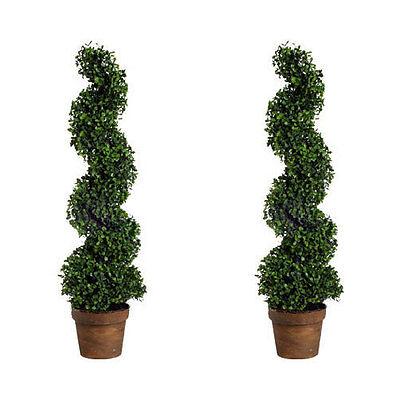 "Set Of 2 36"" Phony Boxwood Spiral Topiary Tree Plant - 58147"