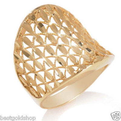 Technibond Crystal Cut Filigree Concave Band Ring 14K Yellow Gold Clad Silver
