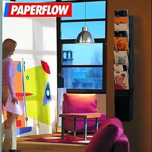 NEW PAPERFLOW LITERATURE WALL RACK BLACK - 10 SLOTS - WALL MOUNTED DISPLAY RACKS LETTER SIZED DISPLAYS DECOR ACCENT