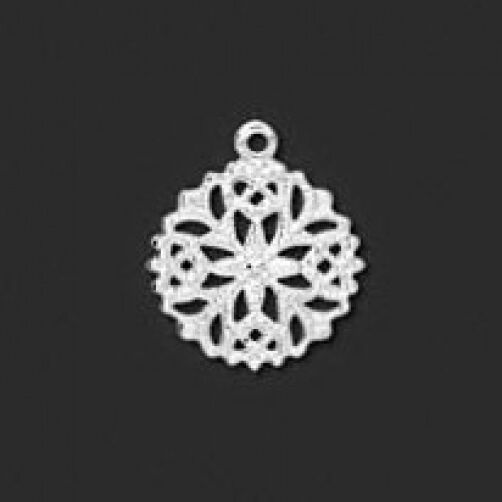 100* Silver Plated 13mm Filigree Snowflake Charms Drops