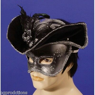 Gold Black PIRATE HALF MASK + HAT Venetian Costume Cap Mardi Gra Party Halloween (Halloween Party Magic Tricks)