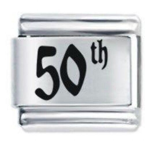 9mm  Italian Charm  E50  50 50th   Birthday Fits Classic Size Bracelet