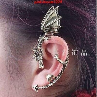 (2*NEW SILVER DRAGON SNAKE EAR CUFF CLIP WRAP LURE EARRING GOTHIC PUNK ROCK GIFT)