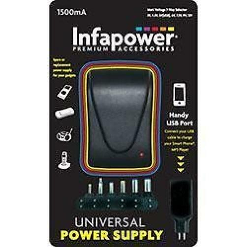 Infapower P003 1500mA Universal Power Mains Power Supply Adaptor USB 7 Way AC DC
