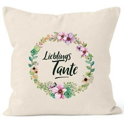 Kissenbezug Geschenk für Tante Lieblingstante Blumen Bordüre Blumenranke