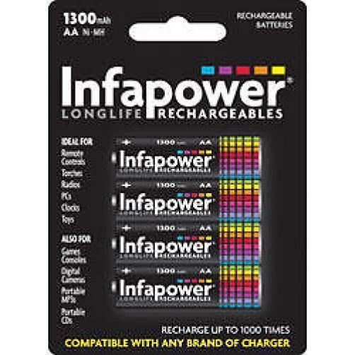 Infapower Rechargeable AA Ni-MH Multi Usage Batteries 1.2v 1300mAh 4 Pack New