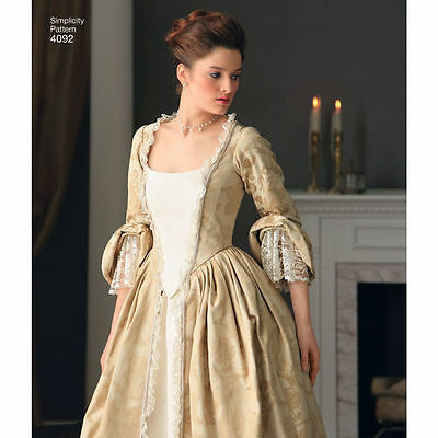 PATTERN for 1700s Colonial dress Simplicity 4092 14+ Claire pannier pocket hoop - Colonial Costumes For Adults