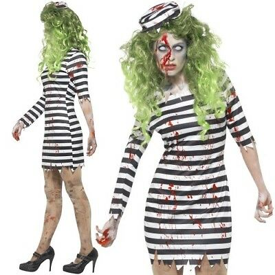 Halloween Ladies Zombie Jail Bird Convict Fancy Dress Costume Outfit by Smiffys