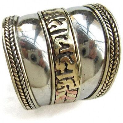 Wide Adjustable Tibetan Carved Brass Mantra OM Mani Amulet Ring Thumb Ring