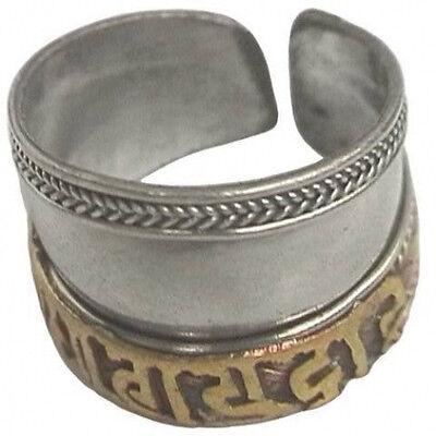 Vintage Adjustable Tibetan Copper Carved Brass OM Mani Padme Hum Amulet Ring