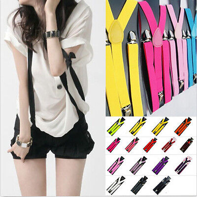 NEW Unisex Clip-on Suspenders Elastic Y-Shape Solid Adjustable Braces 100*2.5cm