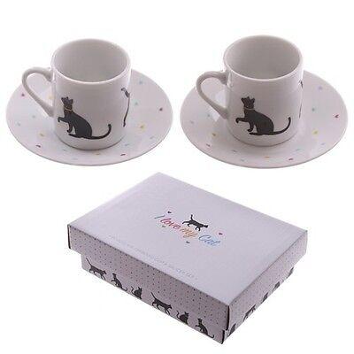 2er Set Espresso Tasse B- Ware Untertasse I Love My Cat Kaffeetasse Katzentasse