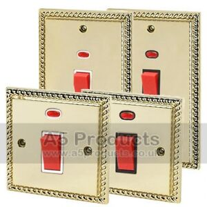 45-Amp-Oven-Cooker-Switch-with-Neon-Indicator-in-Polished-Brass-GEORGIAN-Style