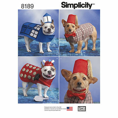 Simplicity Pattern 8189 - Dog Dr. Who Costumes in Three Sizes pet clothing