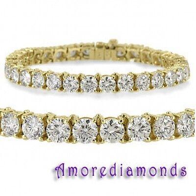 7.35 CT F VS2 NATURAL ROUND DIAMOND 4 PRONG CLASSIC TENNIS BRACELET YELLOW GOLD 2 Prong Diamond Tennis Bracelet