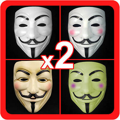 New 2 (Pair) V for Vendetta Masks Guy Fawkes Anonymous Mens Costume Collectors](Pair Costumes For Guys)
