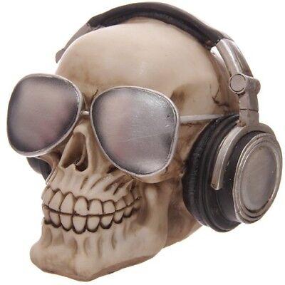 Spardose Totenkopf Skull mit Kopfhörer und Sonnenbrille DJ Musik Horror Deko