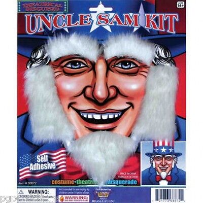 UNCLE SAM PATRIOTIC BEARD KIT Sideburns Eyebrows White Old Man Fake Hair USA