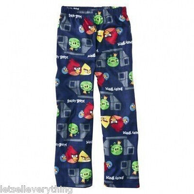NEW Boy ANGRY BIRDS GAME Fleece Pajama Lounge Pants M 8 Blue