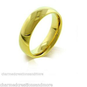 5mm Mens Womens Thick Hamilton Gold IPG Wedding Band Ring Sizes 9 10 11 12 13 14