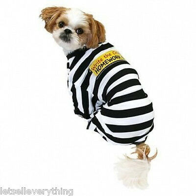 NEW PRISONER CRIME HOMEWORK EATER JAIL DOG HALLOWEEN pet COSTUME sz - Jail Dog Costume