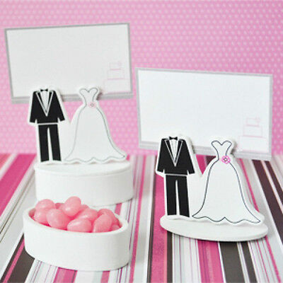 Wooden Bride Groom Couple Wedding Favor Boxes Place Card Holders ()